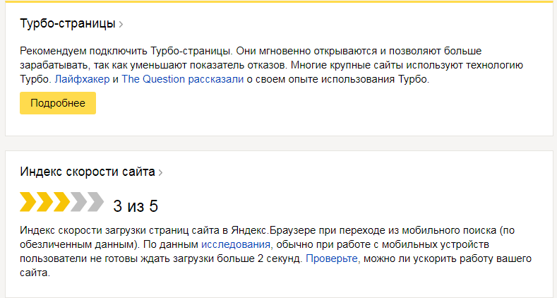 Индекс скорости сайта по Мнению Яндекса Вебмастера